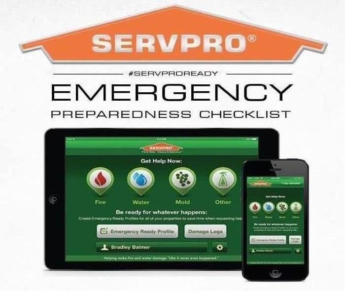 Pictures is an IPhone and IPad with the Emergency Ready Program app open. Along with the SERVPRO® house logo on top.
