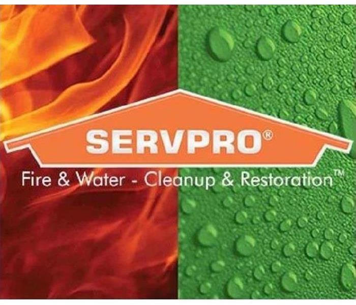 Water droplet and fire flame background with SERVPRO® house logo